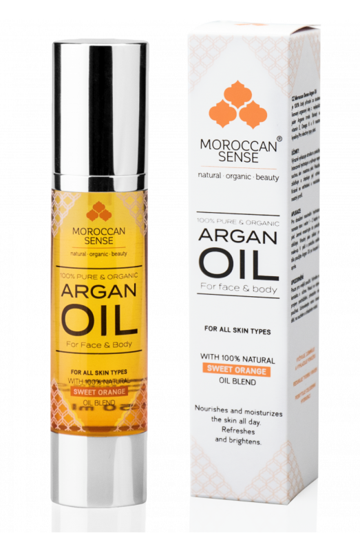 MOROCCAN ORGANIC ARGANOVY OLEJ PRO PLEŤ A TĚLO (with 100% Natural Sweet Orange Oil Blend)