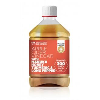 Jablečný ocet s Manukovým medem 300 MGO, kurkumou a pepřem - 500ml